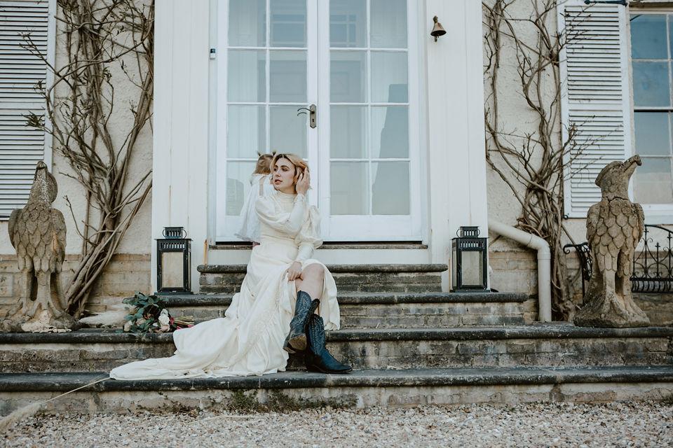 Bride outside Furley Manor
